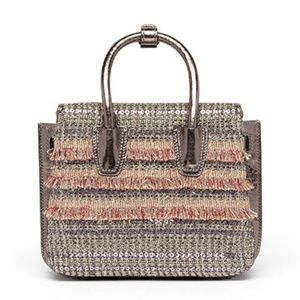 MCM Crystal Tweed Fringe  Mini  Satchel